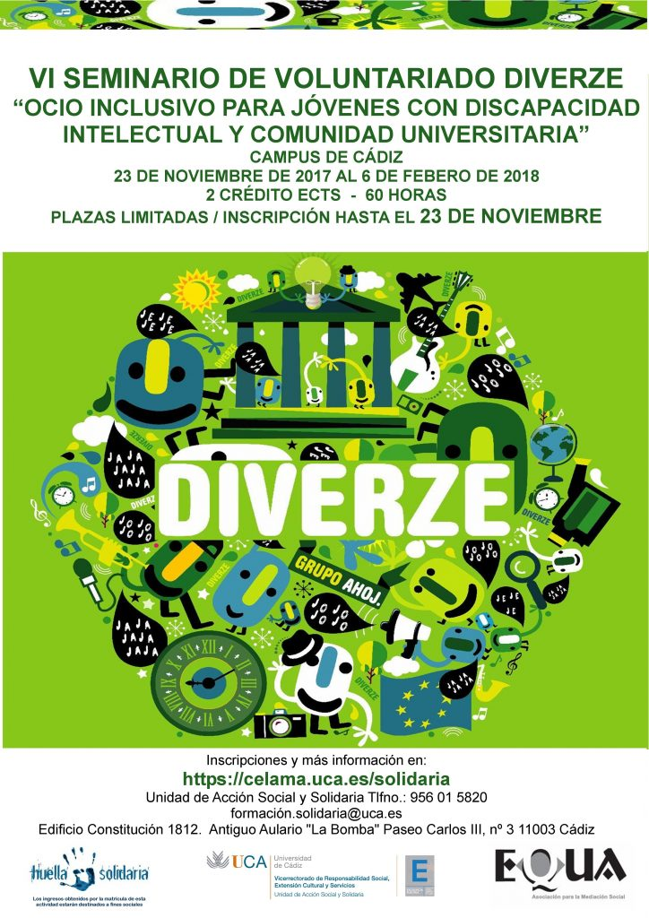 Ampliado plazo de inscripción hasta el día 22. VI Seminario: Ocio Inclusivo para jóvenes con discapacidad intelectual y comunidad universitaria (Voluntariado Diverze) Comienza el 23 de Noviembre