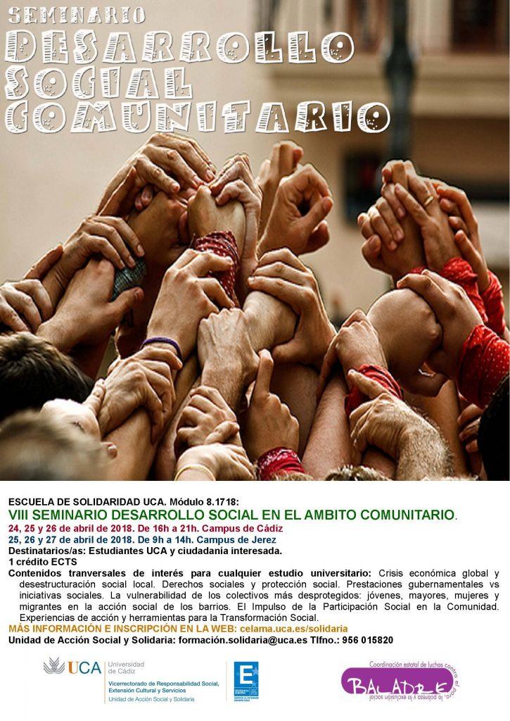 """Campus Cádiz y Jerez. VIII Seminario """"Desarrollo Social en el Ámbito Comunitario"""". Escuela de Solidaridad UCA."""