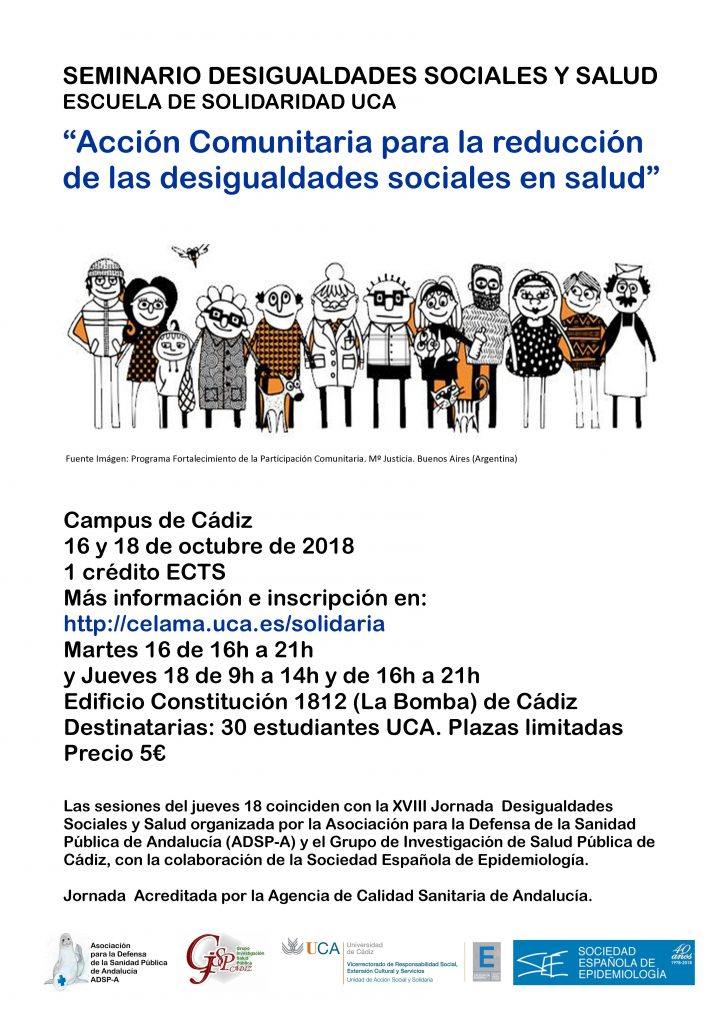 Seminario Desigualdades Sociales y Salud. Campus de Cádiz. 16 y 18 de octubre. Escuela de Solidaridad UCA