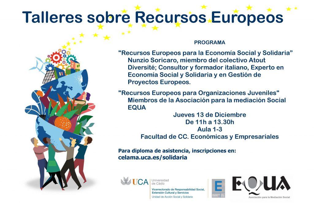 13 de diciembre. 11h. Talleres sobre recursos europeos. Campus de Cádiz