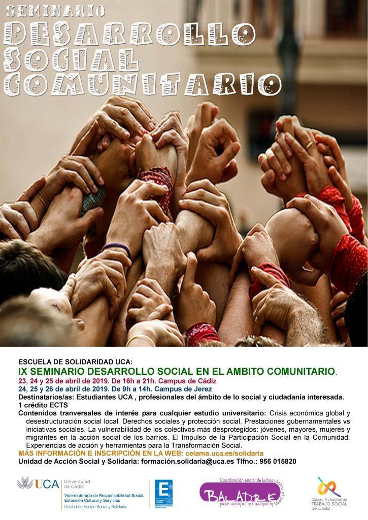 """Campus Cádiz y Jerez. IX Seminario """"Desarrollo Social en el Ámbito Comunitario"""". Escuela de Solidaridad UCA."""