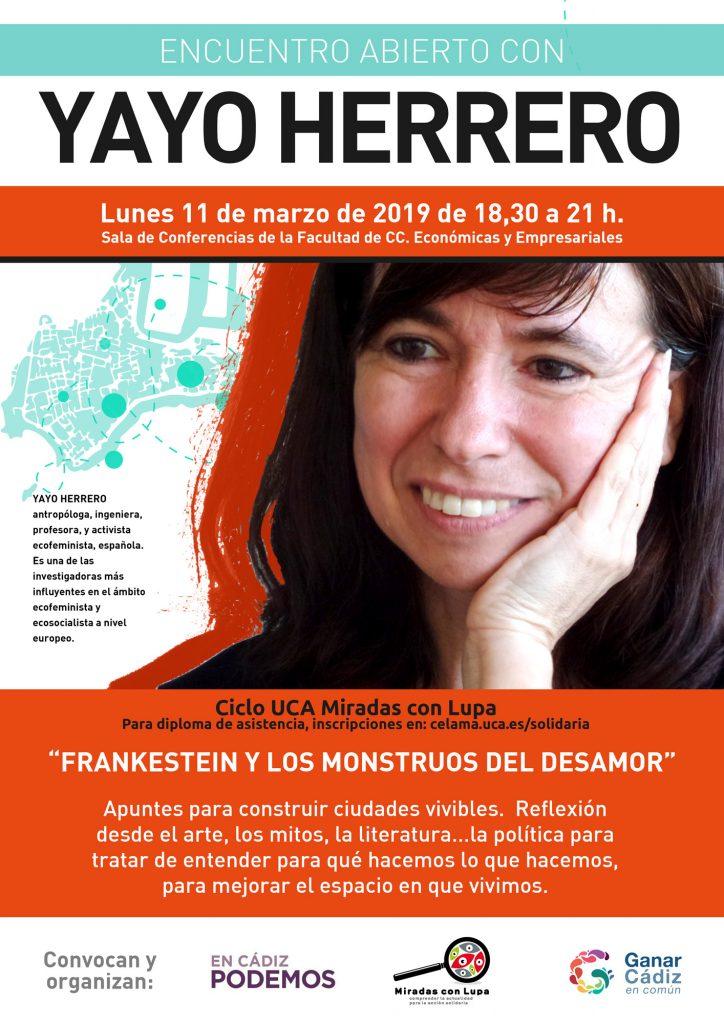 11 de Marzo. 18.30h. Conferencia de Yayo Herrero. Campus de Cádiz.