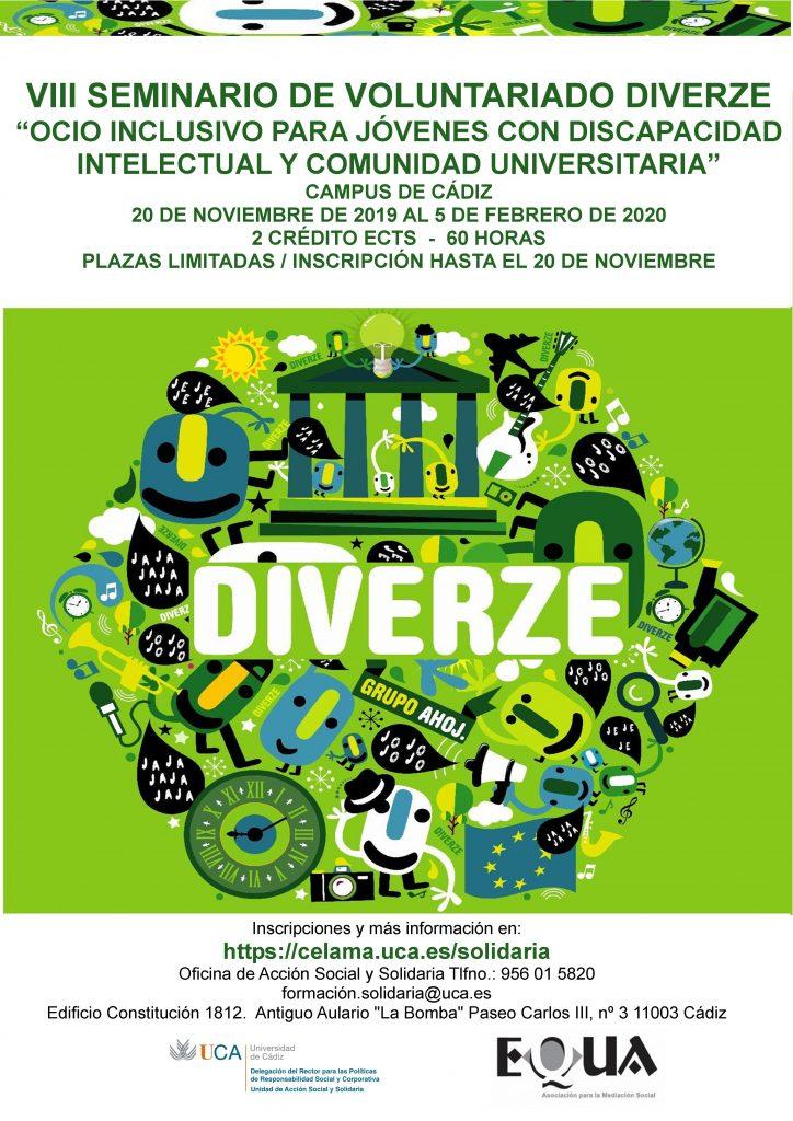 VIII Seminario: Ocio Inclusivo para jóvenes con discapacidad intelectual y comunidad universitaria (Voluntariado Diverze). Del 20 de noviembre de 2019 al 5 de febrero de 2020.