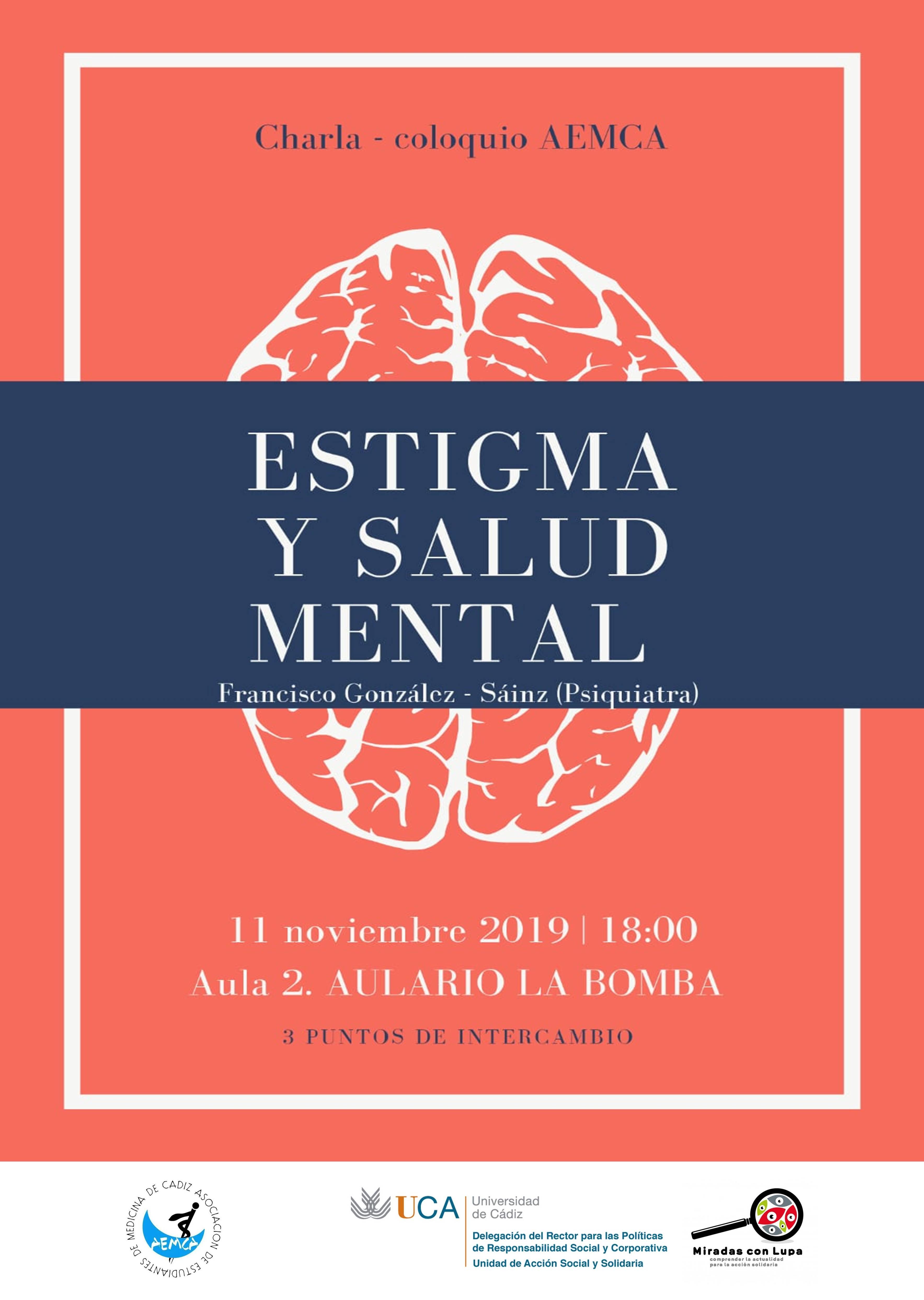 """SUSPENDIDA Charla-Coloquio """"Estigma y Salud Mental"""", por Francisco González Sáinz. Campus de Cádiz"""