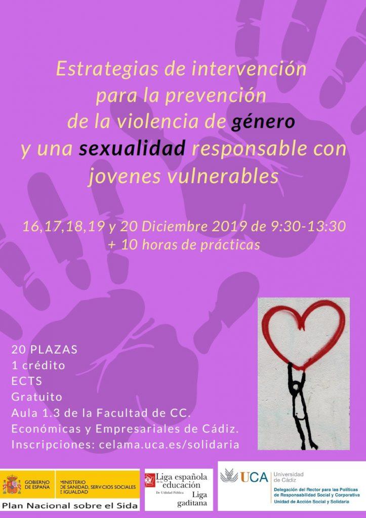 Seminario práctico: Estrategias de intervención para la prevención de la violencia de género y una sexualidad responsable con jóvenes vulnerables. 16 a 20 de dicembre de 2019.