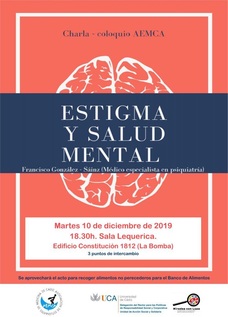 """10 de diciembre. 18.30h. Charla-Coloquio """"Estigma y Salud Mental"""", por Francisco González Sáinz. Campus de Cádiz"""