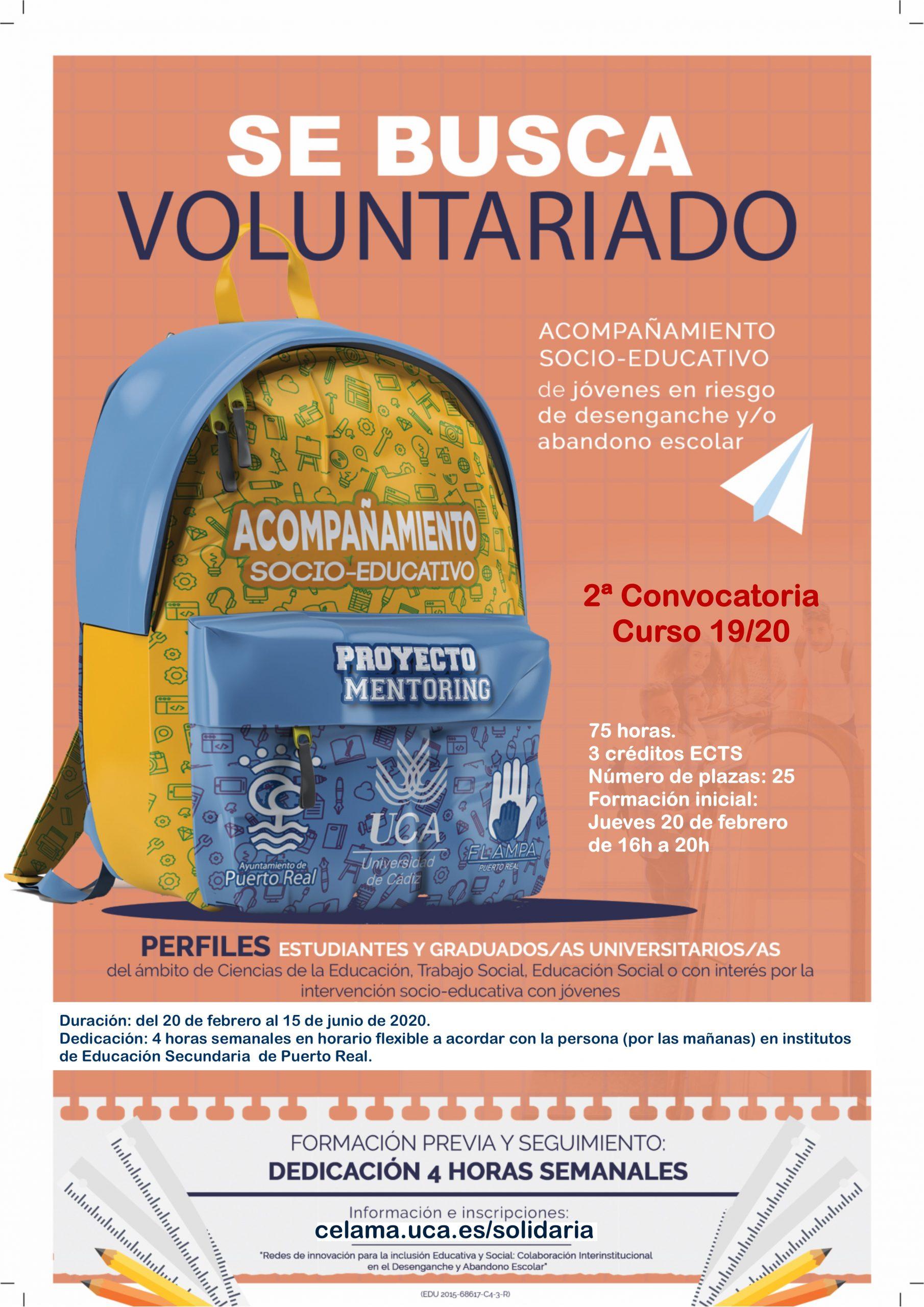 Voluntariado en Intervención Social: Programa de Mentores en Centros Educativos de Puerto Real. Del 20 de febrero al 15 de junio.