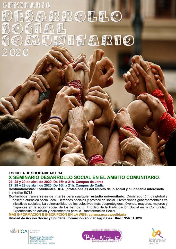 """Campus Cádiz y Jerez. X Seminario """"Desarrollo Social en el Ámbito Comunitario"""". Escuela de Solidaridad UCA."""