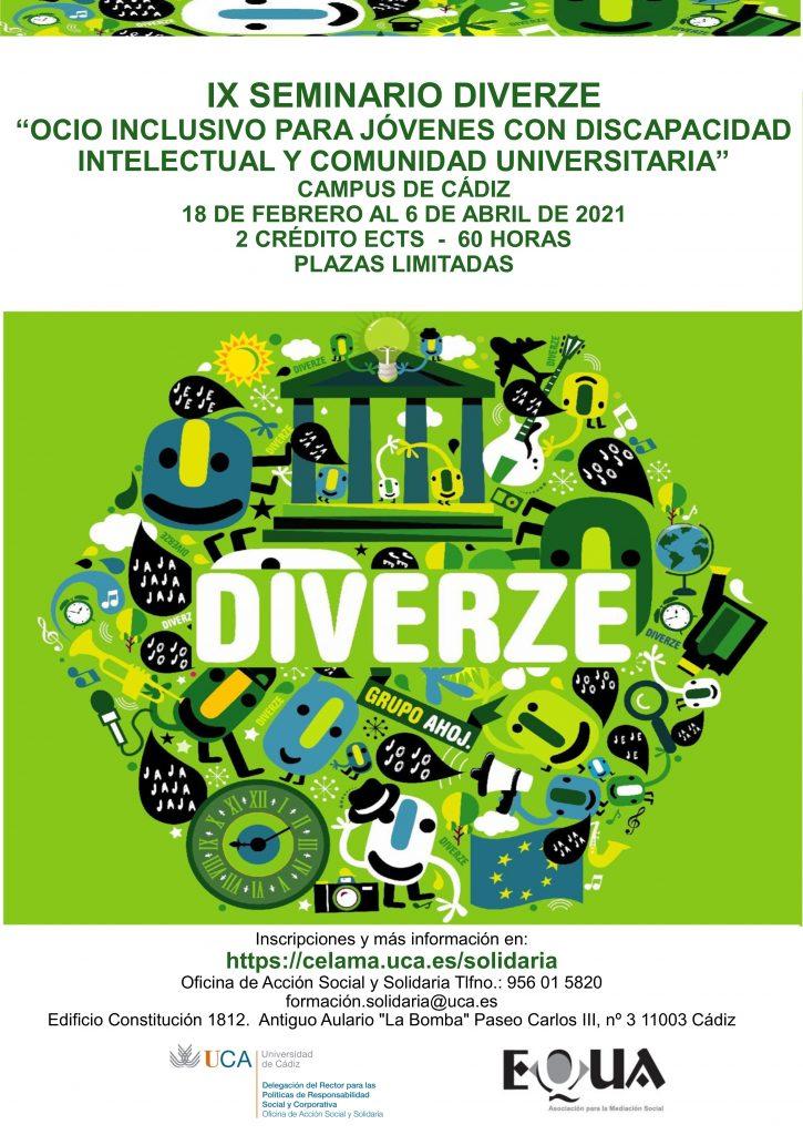 IX Seminario Diverze: Ocio Inclusivo para jóvenes con discapacidad intelectual y comunidad universitaria. Del 18 de febrero al 6 de abril de 2021.