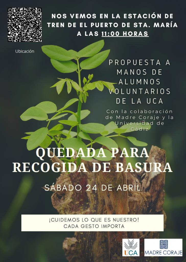 """Organizada por estudiantes UCA: """"Quedada para recogida de basura"""". Puerto de Santa María, 24 de abril, 11h."""